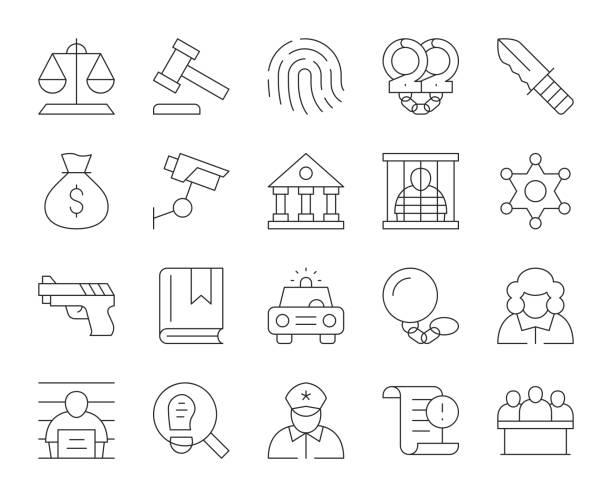 recht und gerechtigkeit-dünne linie icons - abgeordnetenhaus stock-grafiken, -clipart, -cartoons und -symbole