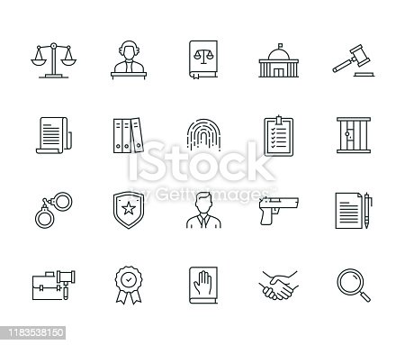 istock Law And Justice Thin Line Series 1183538150