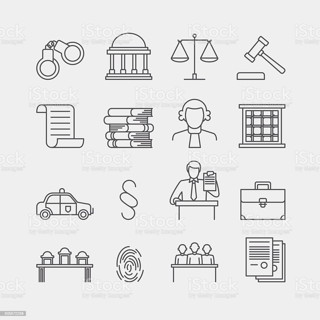 Law and justice thin line vector icons vector art illustration
