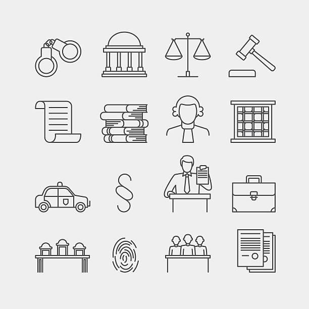 illustrations, cliparts, dessins animés et icônes de droit et justice des icônes vectorielles fine ligne - polices ligne fine