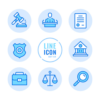Law and justice vector line icons set. Court, judgment, legal document, evidence, police badge outline symbols. Linear, thin line style. Modern simple stroke outline graphic elements for web design, websites, mobile app. Round icons