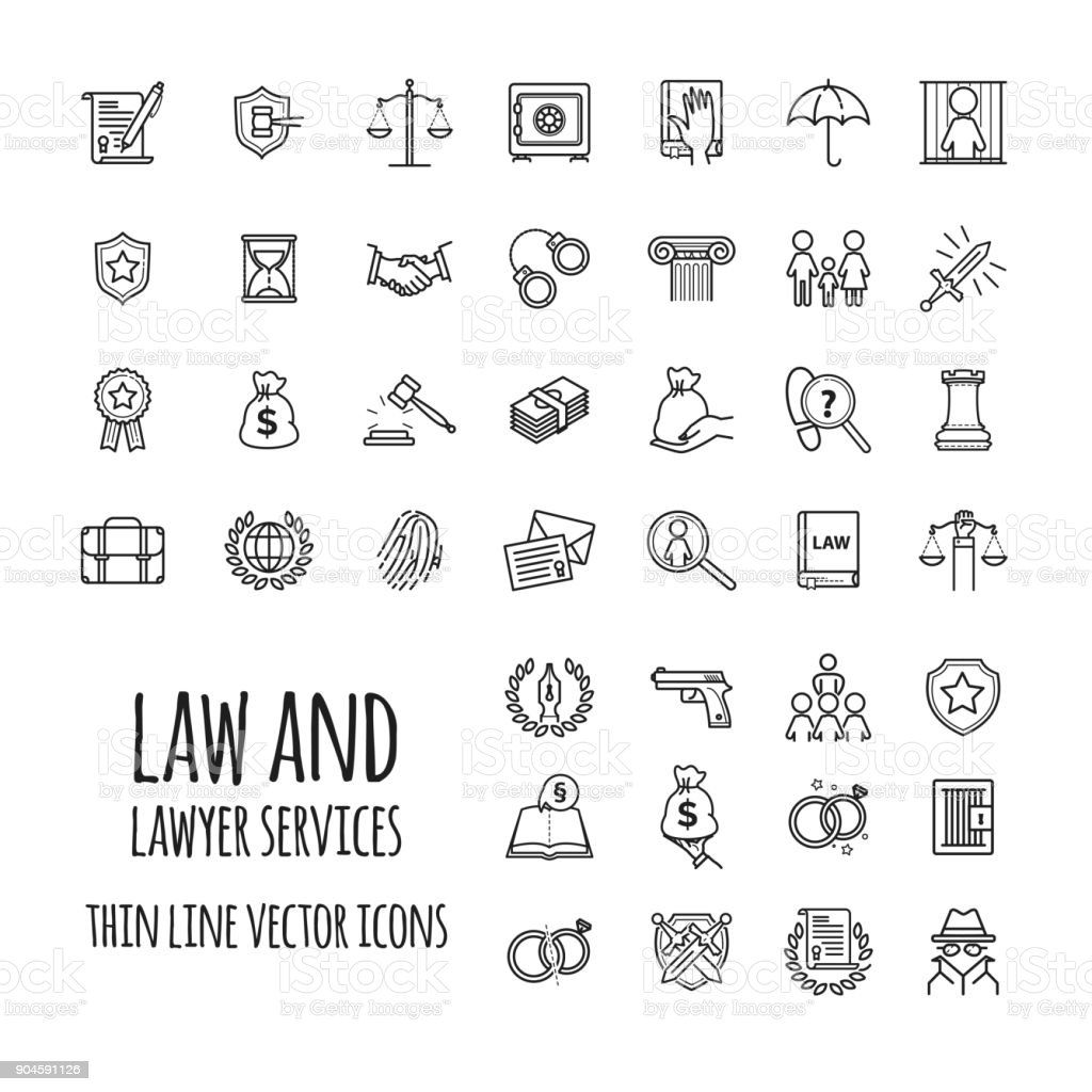Law and lawyer services icons set for web design, mobile app, graphic design - illustrazione arte vettoriale