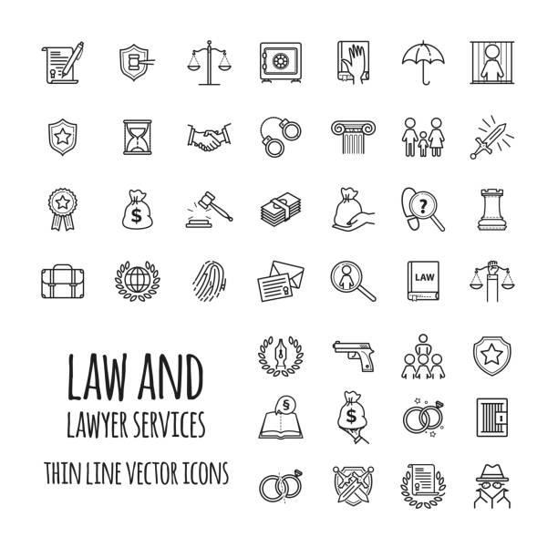 illustrations, cliparts, dessins animés et icônes de droit et avocat services icônes définies pour la conception de sites web, application mobile, design graphique - notaire