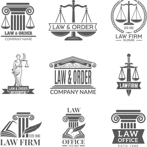 ilustraciones, imágenes clip art, dibujos animados e iconos de stock de ley y las etiquetas legales. código legal, martillo de juez y otros símbolos corporativos de jurisprudencia. etiquetas negras y divisas de notas legales - abogado