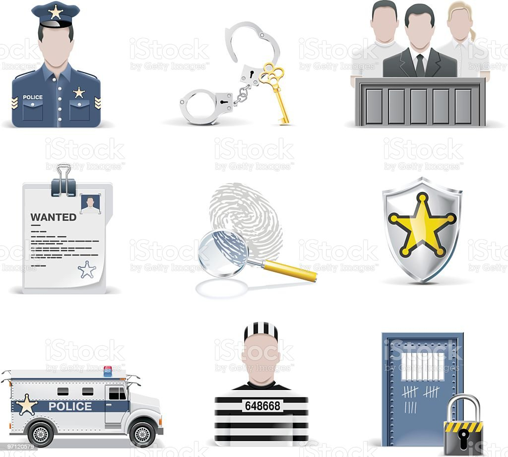 Law and order icon set royalty-free law and order icon set stock vector art & more images of bus