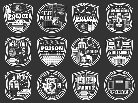 Law and order icons of police, detective, justice