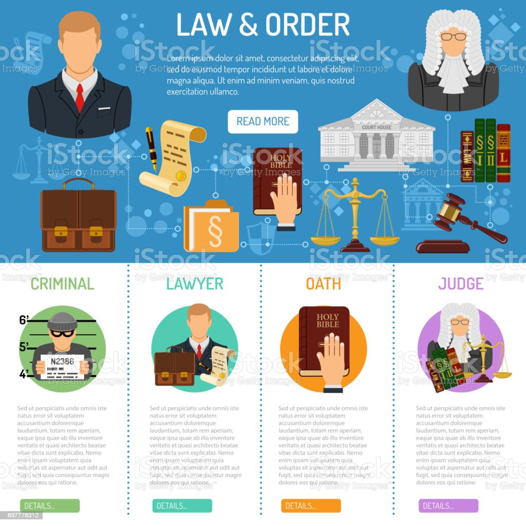 Law and Order infographics vector art illustration
