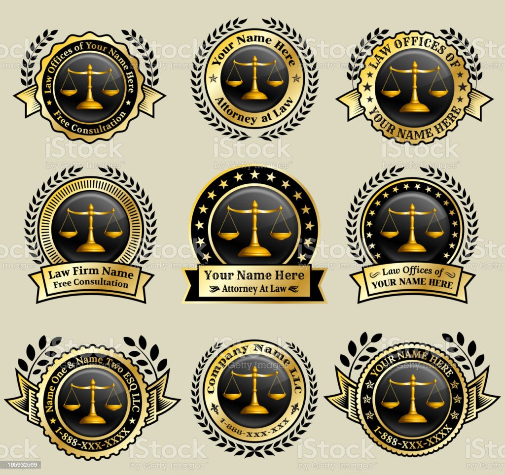 Law Attorney Gold royalty free vector art badge set vector art illustration