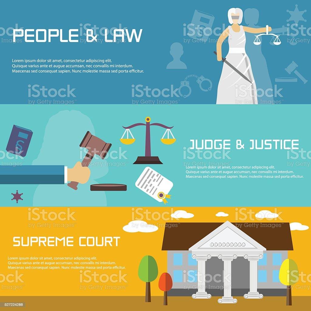 Lei bandeiras de TV estilo de projeto. Supremo Tribunal. - ilustração de arte em vetor