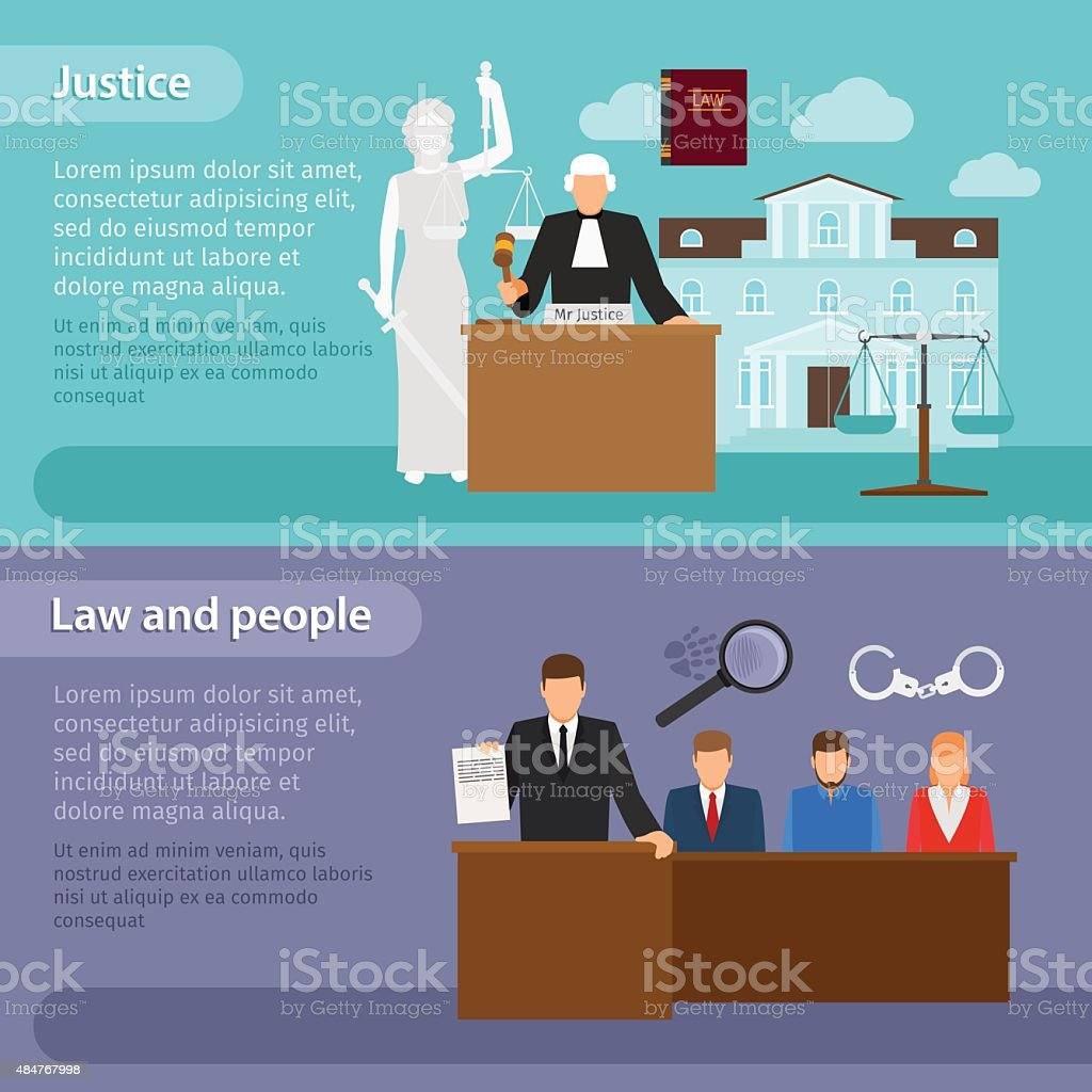 Law banners vector art illustration