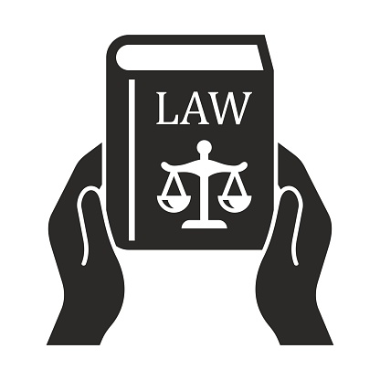 Law book icon. Symbol of law and justice. Holding a book.