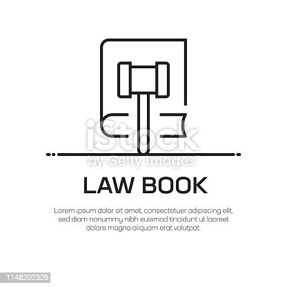 Law Book Vector Line Icon - Simple Thin Line Icon, Premium Quality Design Element