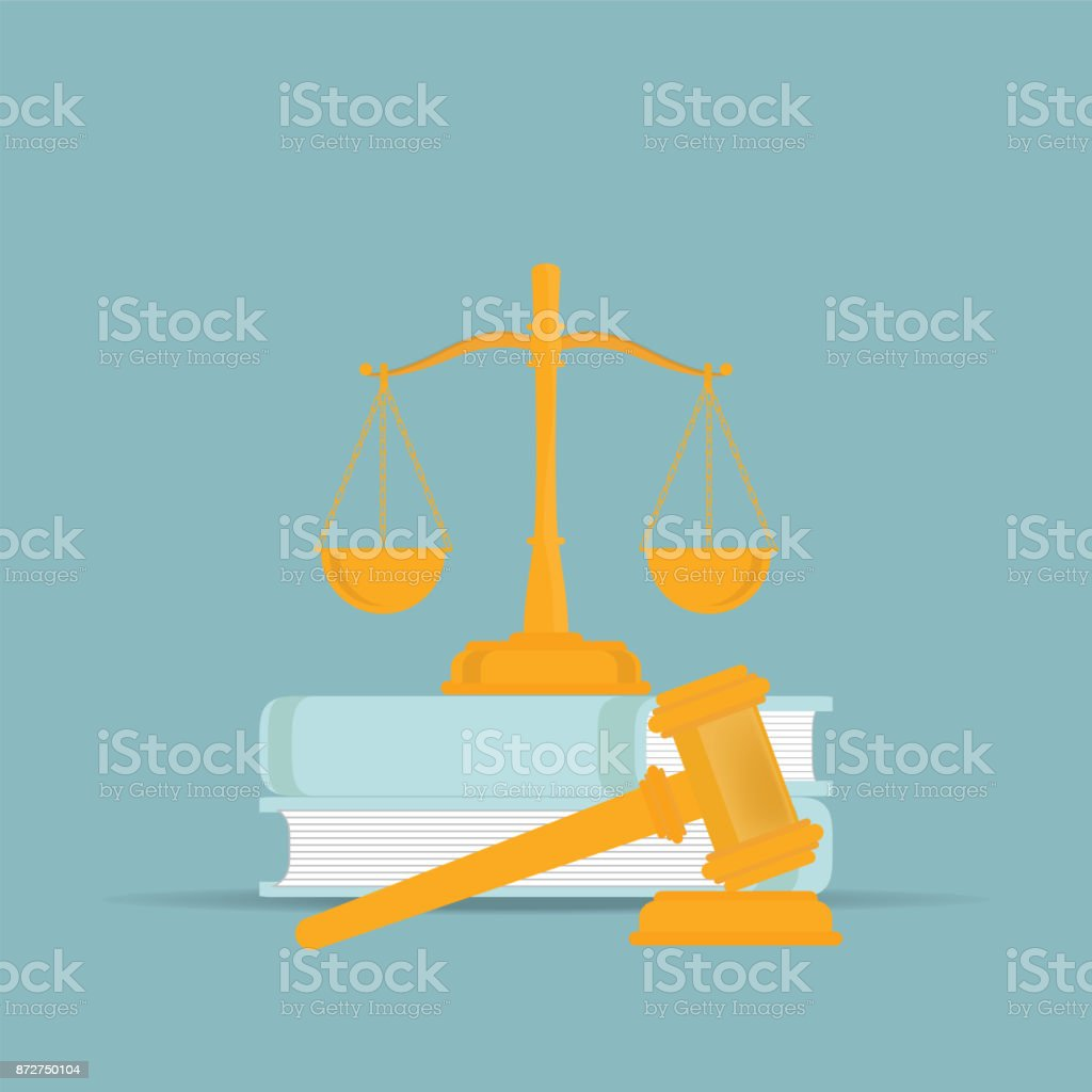 Law books with a judges gavel in flat style. vector art illustration
