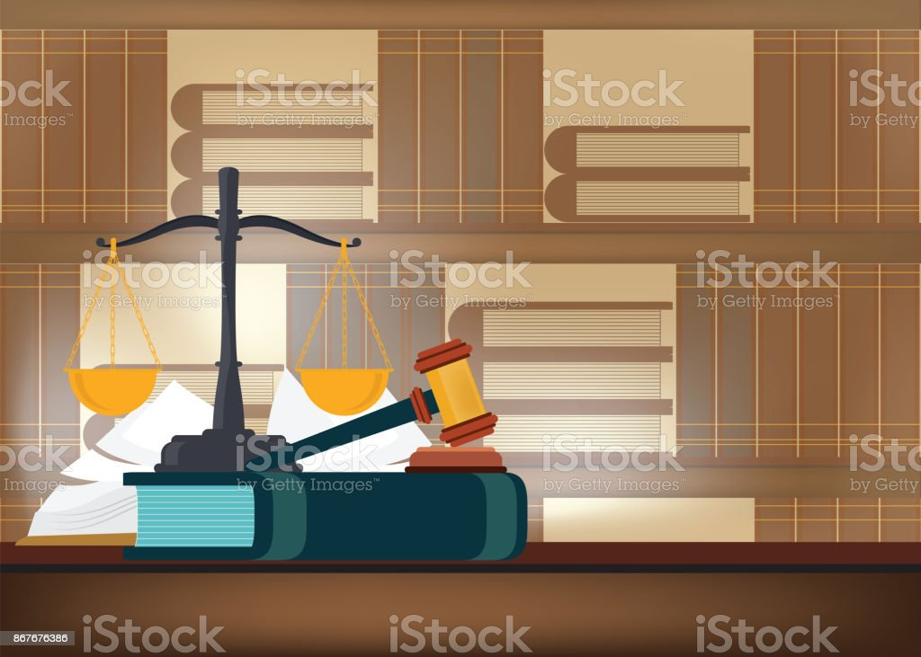 Law books with a judge's gavel on a table and book shelves on background. vector art illustration