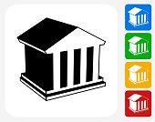 Law Building Icon Flat Graphic Design