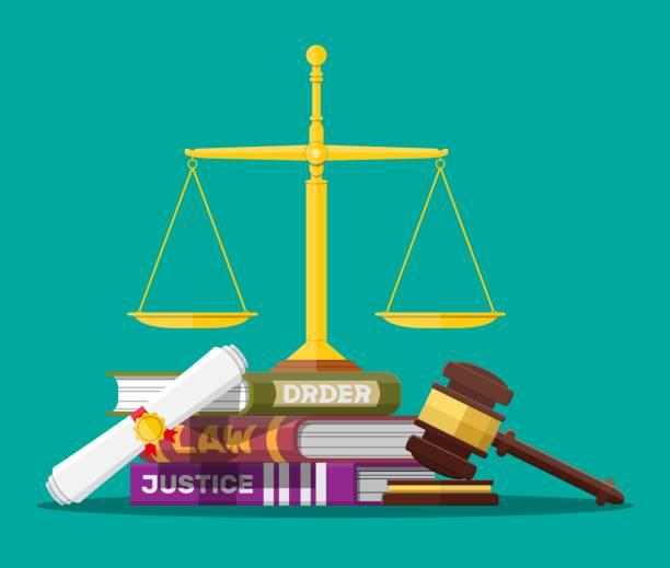 Gesetzbuch Bücher, Justizskala und Richtergavel. – Vektorgrafik
