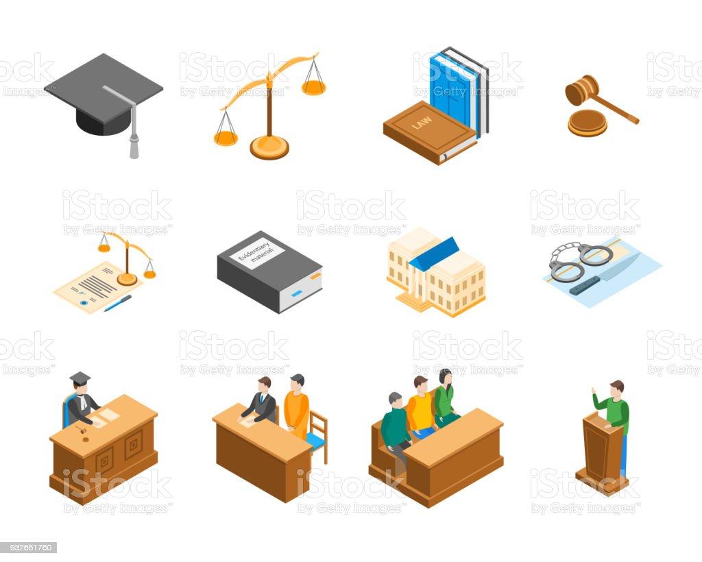 Loi Cour 3d Icons Set vue isométrique. Vector - Illustration vectorielle