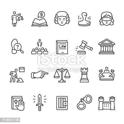 Law, Legal System & Court related vector icon set.