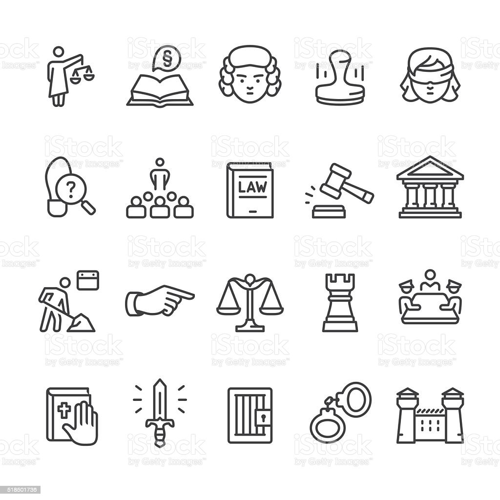 Law & Court vector icon set vector art illustration