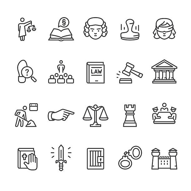 Law & Court vector icon set Law, Legal System & Court related vector icon set. judge law stock illustrations