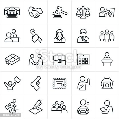 A set of law, crime and justice icons. The icons include a courtroom, handshake, lawyer, defendant, plaintiff, jury, gavel, evidence, testimony, examination, criminal, female, male, team, lawyers, law team, bible, briefcase, calendar, gun, oath, law enforcement and other related icons.