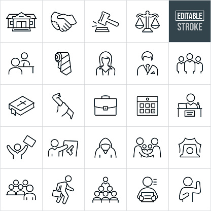 A set of law icons that include editable strokes or outlines using the EPS vector file. The icons include a courthouse, court of law, handshake, gavel, scales of justice, attorney questioning a person on trial, trial, neck tie, female lawyer, male lawyer, three attorneys standing next to each other, a bible, criminal with crow bar, briefcase, calendar, judge, lawyer displaying evidence, criminal, two lawyers shaking hands, siren, attorney addressing jury, lawyer walking with briefcase, and a person taking an oath.