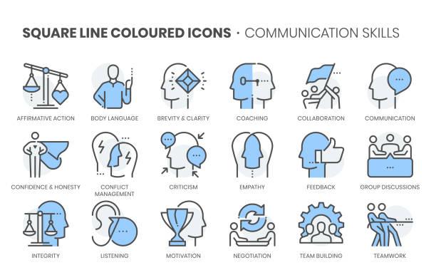 rechtswörterbuch verwandt, quadratische linie farbe vektor-symbol-set - feedback stock-grafiken, -clipart, -cartoons und -symbole