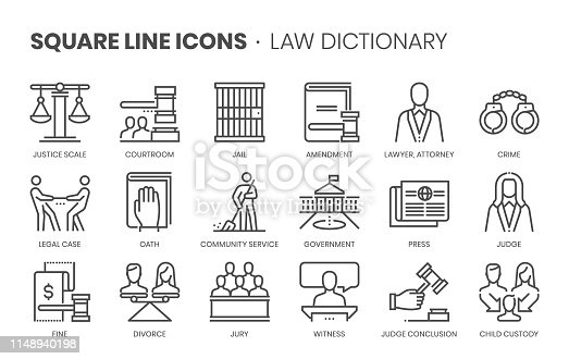 Law dictionary related, square line vector icon set for applications and website development. The icon set is editable stroke, pixel perfect and 64x64. Crafted with precision and eye for quality.