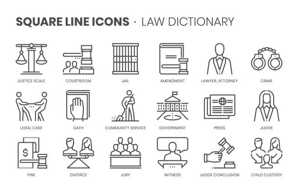 Law dictionary related, square line vector icon set Law dictionary related, square line vector icon set for applications and website development. The icon set is editable stroke, pixel perfect and 64x64. Crafted with precision and eye for quality. judge law stock illustrations