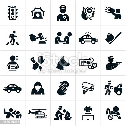 A set of law enforcement icons. The icons include police officers, criminals, police radio, safety, arrest, police car, police baton, police dog, police radio, speeding car, drugs, security camera, ticket, violence, police helicopter, dispatch and a drunk driver to name a few.