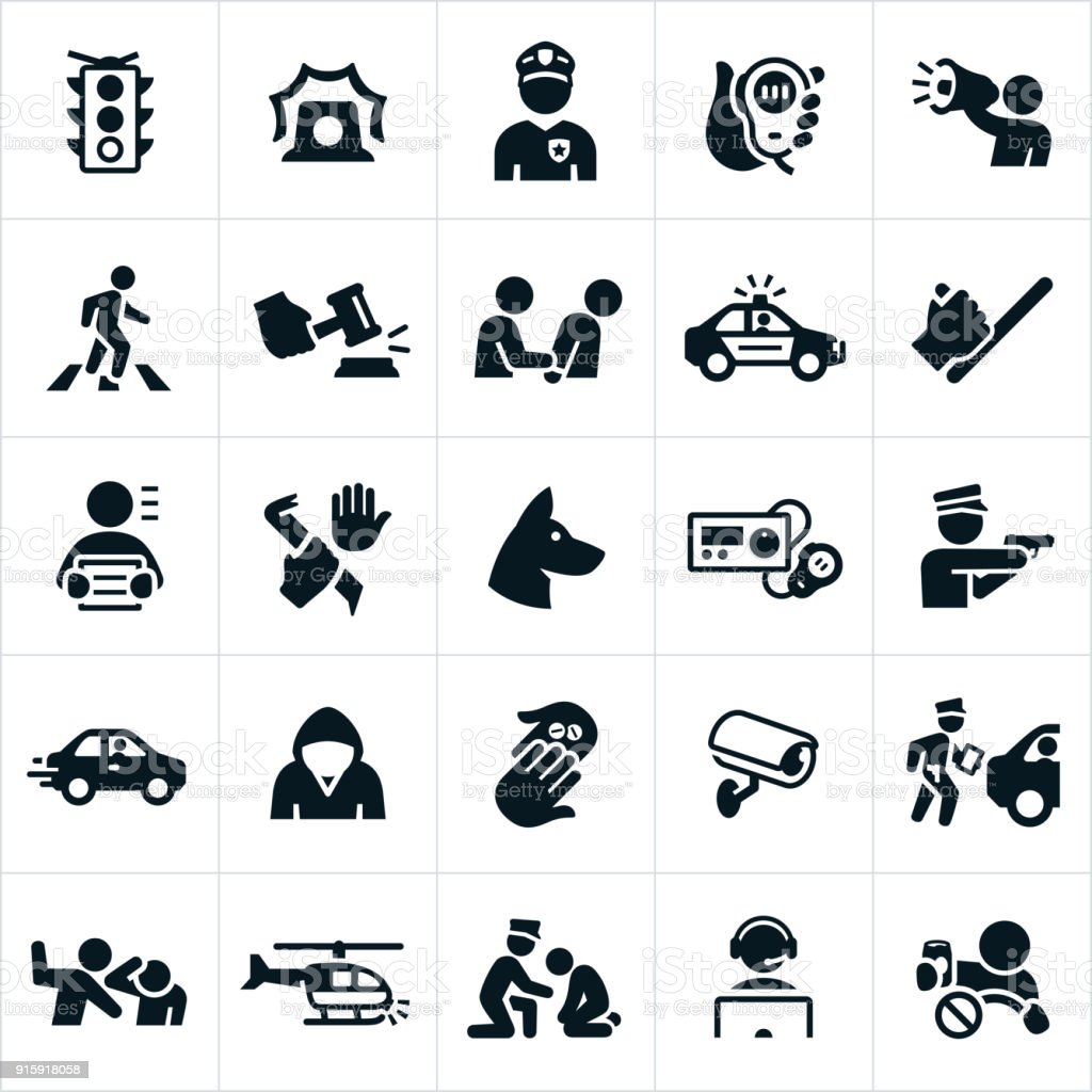 Law Enforcement Icons vector art illustration