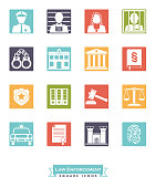 Collection of law enforcement icons. Criminal justice symbols, negative in coloed squares