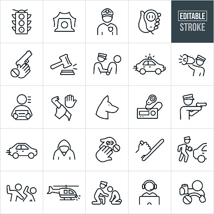 Law Enforcement Thin Line Icons - Editable Stroke
