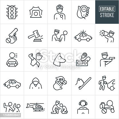 A set of law enforcement icons that include editable strokes or outlines using the EPS vector file. The icons include a police officer with badge and hat, a stop light, siren, hand holding a CB radio receiver, safety against children obtaining guns, gavel, police officer hand cuffing criminal, police car, police officer with megaphone, criminal, crime, police dog, CB radio, police officer with gun drawn, speeding car, illegal drugs, police baton, police officer giving ticket to person in car, a person beating another person, police helicopter, public service, dispatcher and a drunk driver.