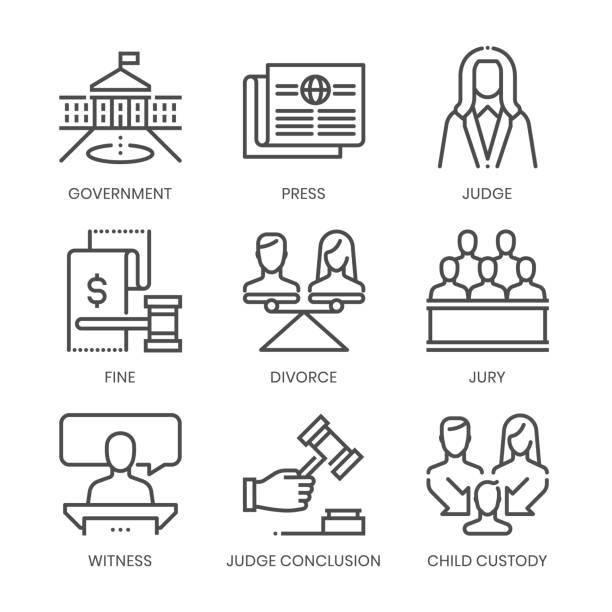 pola prawa związane, kwadratowy zestaw ikon wektora linii - white house stock illustrations