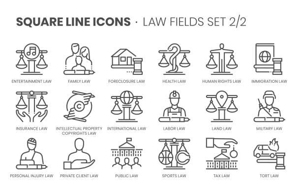 illustrazioni stock, clip art, cartoni animati e icone di tendenza di campi di legge correlati, set di icone vettoriali a linea quadrata - divorce