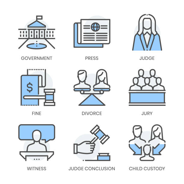 law fields related, square line vector icon set - white house stock illustrations