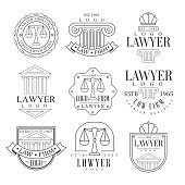 Law Firm And Lawyer Office Logo Templates With Classic Ionic