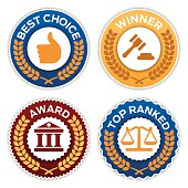 Law firm award badge symbols with space for your copy. EPS 10 file. Transparency effects used on highlight elements.