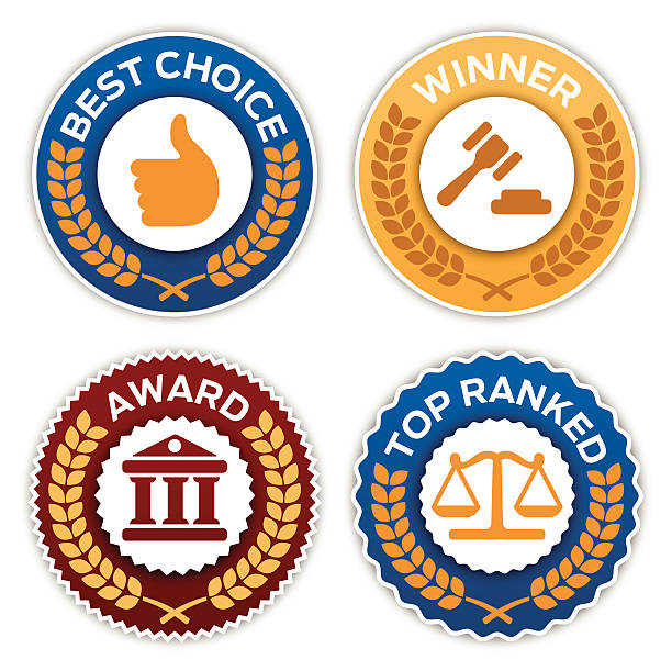 Law Firm Badges Law firm award badge symbols with space for your copy. EPS 10 file. Transparency effects used on highlight elements. supreme court stock illustrations