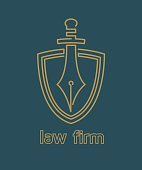 Law firm emblem. Vector illustration.