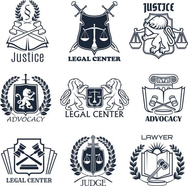 ilustrações, clipart, desenhos animados e ícones de escritório de advogado firme, lei, projeto de ícone do centro jurídico - assistente jurídico