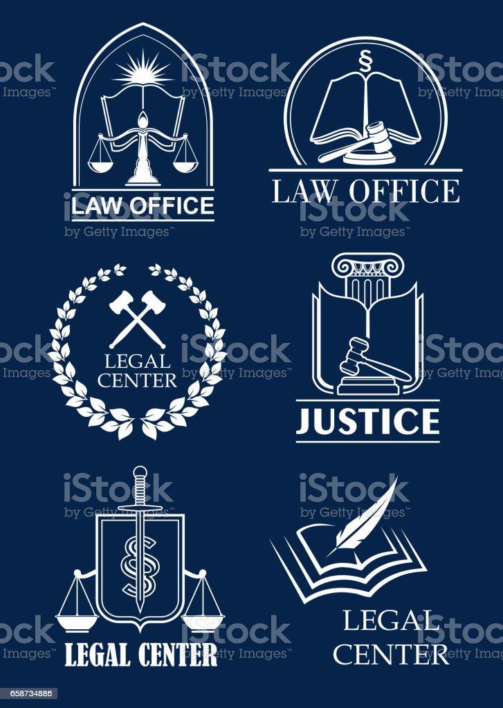 Escritório de advogado firme, advocacia, centro jurídico símbolo set - ilustração de arte em vetor