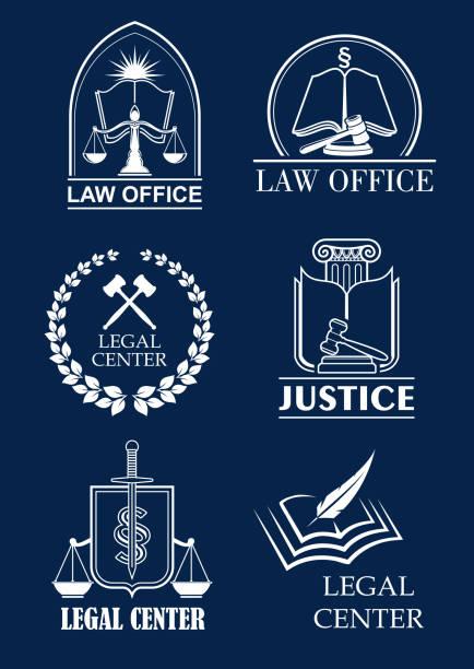 ilustrações, clipart, desenhos animados e ícones de escritório de advogado firme, advocacia, centro jurídico símbolo set - assistente jurídico