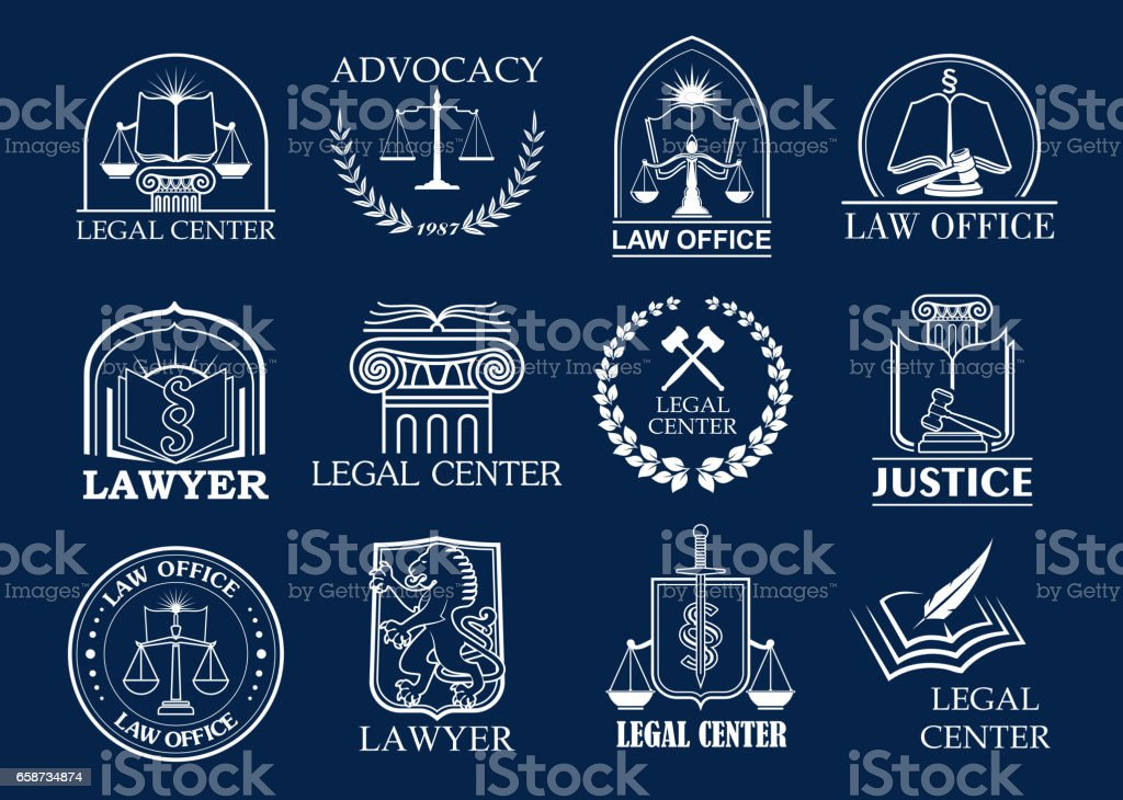 Law firm, legal center and lawyer office badge set - illustrazione arte vettoriale