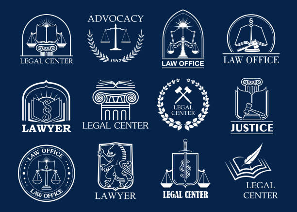 illustrations, cliparts, dessins animés et icônes de cabinet d'avocats, centre juridique et bureau avocat badge ensemble - notaire