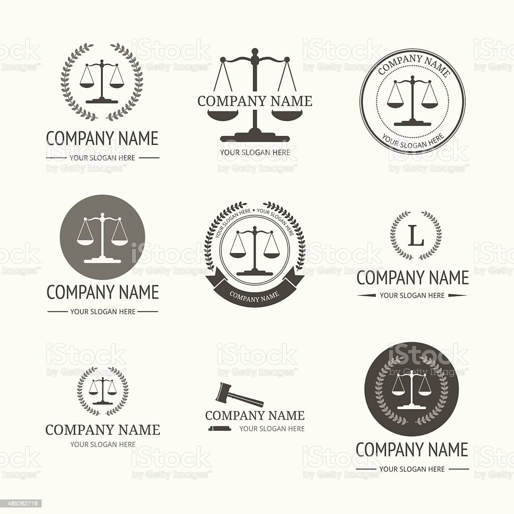 Law firm logo template. set di etichette vintage - illustrazione arte vettoriale