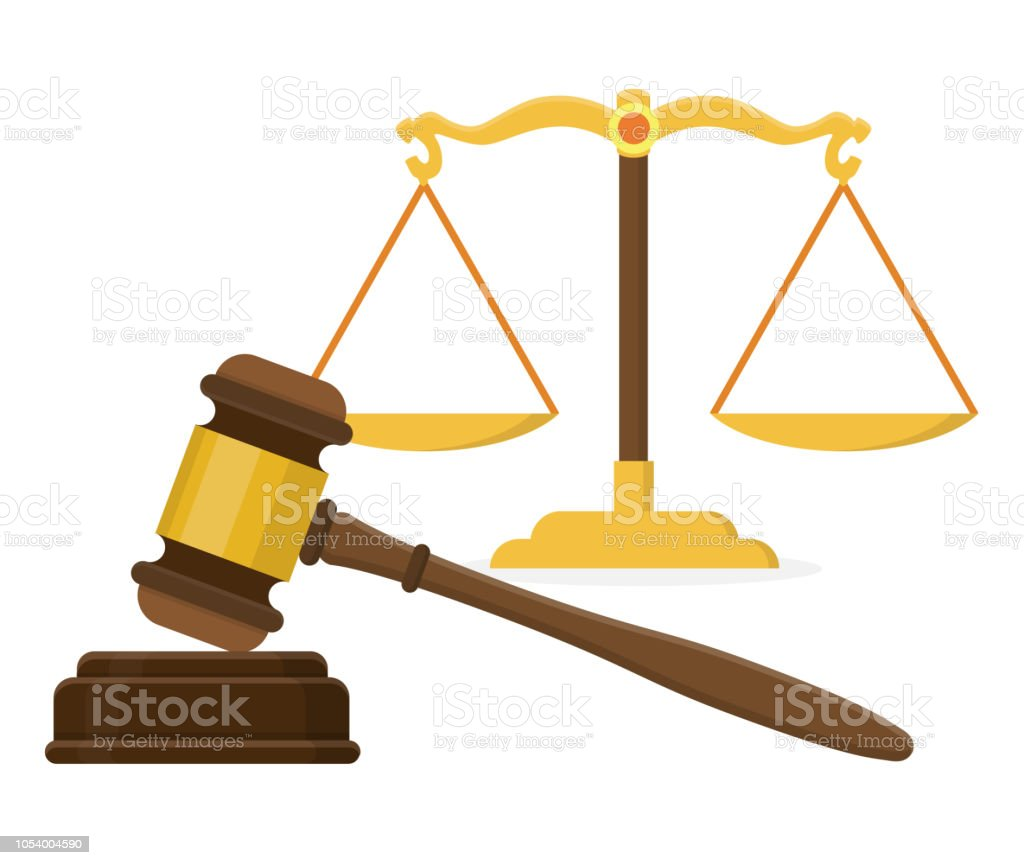 Law Golden Wood Gavel Hammer With Scale Flat Design Stock