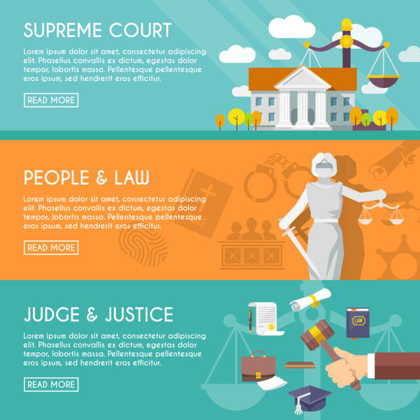 law icon flat Supreme court judge and blindfolded justice with sword and scales people law flat horizontal banners vector illustration supreme court stock illustrations