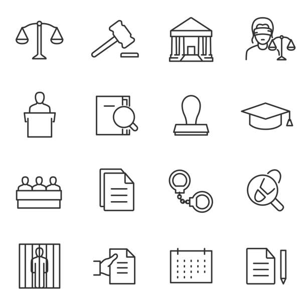 Law icon set. Line with editable stroke Law icon set, linear design. Line with editable stroke courthouse stock illustrations